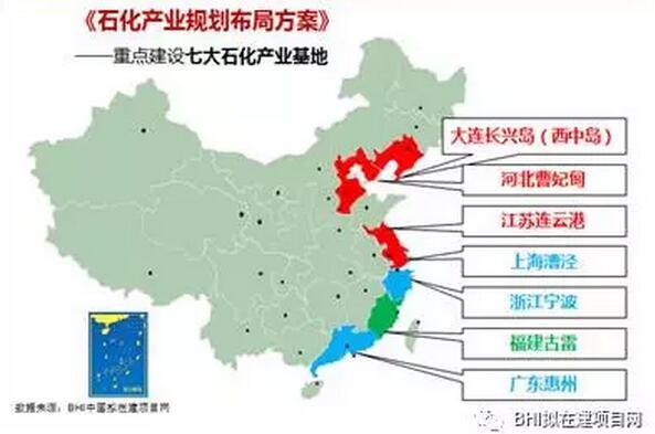 的是大连长兴岛(西中岛),河北曹妃甸,江苏连云港,上海漕泾,浙江宁波